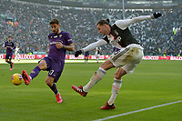 2nd February 2020; Allianz Stadium, Turin, Italy; Serie A Football, Juventus versus Fiorentina; Federico Ceccherini of Fiorentina challemnges Adrien Rabiot of Juventus as he crosses the ball
