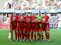 20190829 - LEUVEN , BELGIUM : Belgian Women's Team Photo (From top left: Tine De Caigny, Ella Kerkhoven, Laura De Neve, Julie Biesmans, Nicky Evrard, Heleen Jaques Bottom right: Elena Dhondt, Laure Deloose, Davina Philtjens, Janice Cayman, Tessa Wullaert) that was taken at the start of the female soccer game between the Belgian Red Flames and England , The Lionesses , a friendly womensoccer game in the preparation for the European Championship qualification round in group H for England 2021, Tuesday 29 th August 2019 at the King Power Stadion Den Dreef in Leuven , Belgium. PHOTO SPORTPIX.BE | SEVIL OKTEM