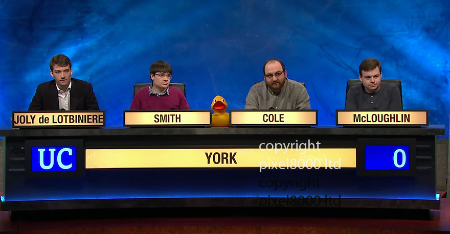 pic shows: Barto Joly de Lotbiniere - charge with rape.<br /> <br /> seen here on University Challenge<br /> <br /> <br /> <br /> Picture BBC supplied by Pixel8000  07917221968