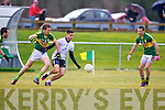 IT Tralee's Denis McElligott and Kerry's captain Donnchadh Walsh go for the ball in the McGrath cup at John Mitchels on Sunday.