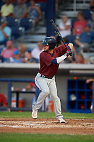 Mahoning Valley Scrappers left fielder Michael Tinsley (15) at bat during a game against the Williamsport Crosscutters on August 28, 2018 at BB&T Ballpark in Williamsport, Pennsylvania.  Williamsport defeated Mahoning Valley 8-0.  (Mike Janes/Four Seam Images)