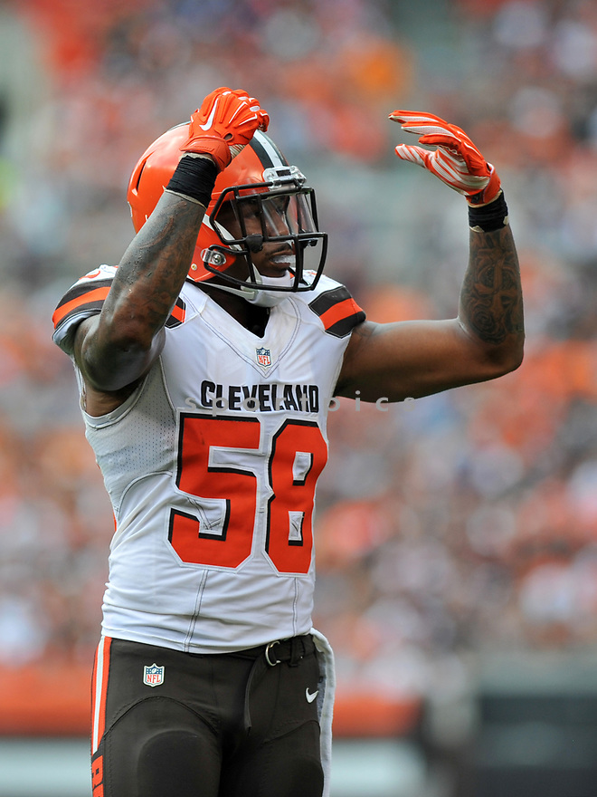 CLEVELAND, OH - JULY 18, 2016: Linebacker Christian Kirksey #58 of the Cleveland Browns gestures toward the crowd in the second quarter of a game against the Baltimore Ravens on July 18, 2016 at FirstEnergy Stadium in Cleveland, Ohio. Baltimore won 25-20. (Photo by: 2017 Nick Cammett/Diamond Images)  *** Local Caption *** Christian Kirksey(SPORTPICS)