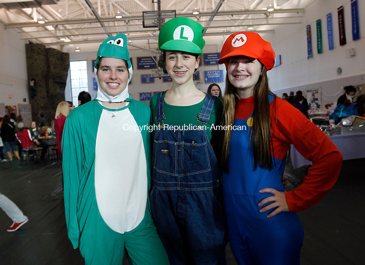 Middlebury, CT-08 January 2012-010812CM05- (Left to right) Westover School juniors, Katie Solley, Catherine Bates and Jennifer Zdon, heads of Docas Festival pose for a photograph at the Fuller Athletic Center at Westover School in Middlebury Sunday afternoon.  The trio helped organize and put together the annual event which helps raise money for local and international charities.  This years theme was Mario games.     Christopher Massa Republican-American