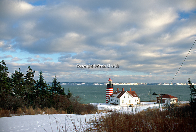 Winter view of West Quoddy Head Lighthouse, Lubec, Washington County, Maine, USA