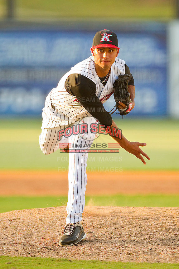 Relief pitcher Terance Marin #1 of the Kannapolis Intimidators in action against the Delmarva Shorebirds at Fieldcrest Cannon Stadium on August 7, 2011 in Kannapolis, North Carolina.  The Intimidators defeated the Shorebirds 8-3.   (Brian Westerholt / Four Seam Images)