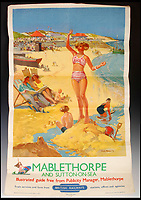 BNPS.co.uk (01202 558833)<br /> Pic:   LindsayBurns&Co/BNPS<br /> <br /> British Railways advertising poster for Mablethorpe and Sutton-on-Sea.<br /> <br /> A collection of stylish vintage railway posters which celebrate the golden age of the seaside package holiday have been unearthed during a house clearance.<br /> <br /> The colourful 1950s posters were discovered under a pile of knick-knacks at the back of a cupboard in a deceased elderly couple's flat in Perthshire, east Scotland.<br /> <br /> They include a racy image of a lady in a bikini promoting the resort of Mablethorpe, Lincs, and a sweet picture of a mother playing with her young child on the beach at Bognor Regis, West Sussex.<br /> <br /> In total, eight posters produced by British Railways will go under the hammer with auction house Lindsay Burns & Co of Perth, where they are expected to fetch £1,000.