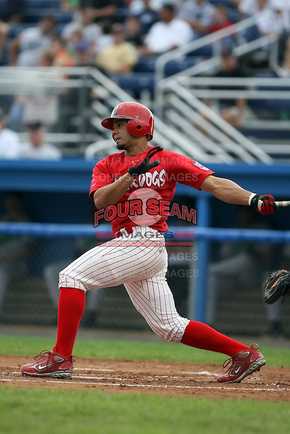 September 15 2008:  Edwin Gomez of the Batavia Muckdogs, Class-A affiliate of the St. Louis Cardinals, during a game at Dwyer Stadium in Batavia, NY.  Photo by:  Mike Janes/Four Seam Images
