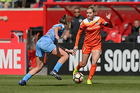 Bridgeview, IL - Saturday May 06, 2017: Arin Gilliland, Kealia Ohai during a regular season National Women's Soccer League (NWSL) match between the Chicago Red Stars and the Houston Dash at Toyota Park.