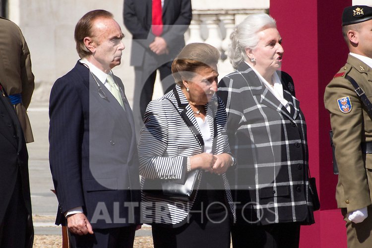 01.10.2012. The Spanish Royal Family, King Juan Carlos, Queen Sofia, Prince Felipe, Princess Letizia and Princess Elena attend the imposition of collective Distinguished Cross San Fernando Al Banner Armored Cavalry Regiment ´Alcántara´ No. 10 in the Royal Palace in Madrid, Spain. In the image Princess Margarita de Borbon and Carlos Zurita (Dukes of Soria) and  Princess Pilar de Borbon (Duchess of Badajoz) (Alterphotos/Marta Gonzalez)