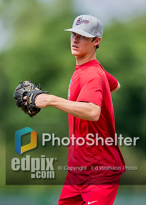 16 July 2017: Auburn Doubledays pitcher Jackson Tetreault works on pre-game drills prior to a game against the Vermont Lake Monsters at Centennial Field in Burlington, Vermont. The Monsters defeated the Doubledays 6-3 in NY Penn League action. Mandatory Credit: Ed Wolfstein Photo *** RAW (NEF) Image File Available ***
