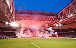 Stockholm 2014-04-16 Fotboll Allsvenskan Djurg&aring;rdens IF - AIK :  <br /> Djurg&aring;rdens supportrar eldar bengaliska eldar p&aring; Sofial&auml;ktaren s&ouml;dra kortsidan inf&ouml;r den andra halvleken <br /> (Foto: Kenta J&ouml;nsson) Nyckelord:  Djurg&aring;rden DIF Tele2 Arena AIK supporter fans publik supporters bengaler bengaliska eldar r&ouml;k