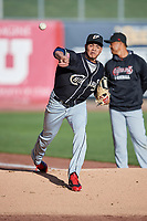 El Paso Chihuahuas starting pitcher Dinelson Lamet (24) throws before the game against the Salt Lake Bees in Pacific Coast League action at Smith's Ballpark on May 1, 2017 in Salt Lake City, Utah. Salt Lake defeated El Paso 9-4.  (Stephen Smith/Four Seam Images)