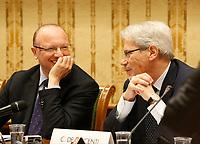 Vincenzo Boccia, presidente Confindustria, Claudio De Vincenti, Ministro Mezzogiorno, durante la conferenza stampa  a margine di Italy is Now and Next
