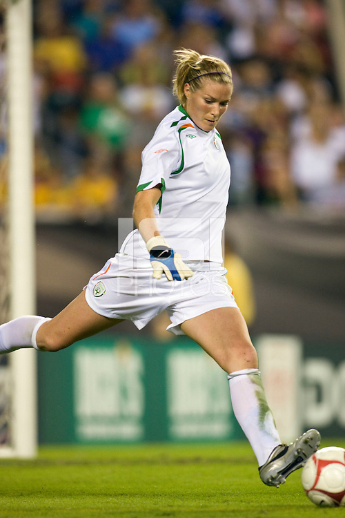 Republic of Ireland (IRE) goalkeeper Emma Byrne (24). The United States Women's National Team (USA) defeated the Republic of Ireland (IRL) 2-0 during an international friendly at Lincoln Financial Field in Philadelphia, PA, on September 13, 2008.