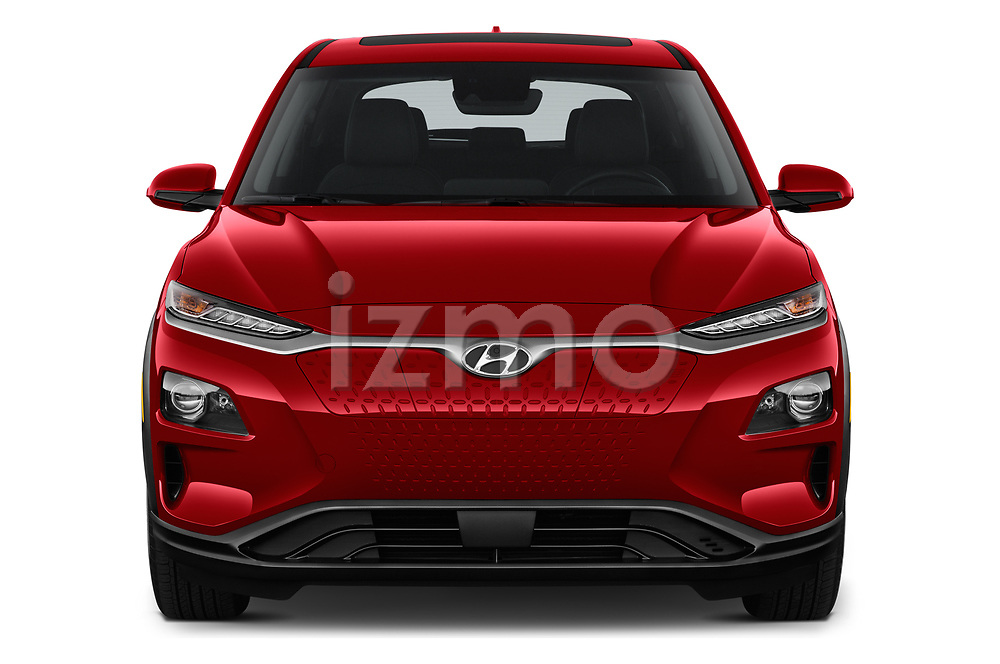 Car photography straight front view of a 2019 Hyundai Kona-EV Ultimate 5 Door SUV Front View