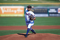 Scottsdale Scorpions starting pitcher Mickey Jannis (40), of the New York Mets organization, delivers a pitch to the plate during an Arizona Fall League game against the Surprise Saguaros on October 27, 2017 at Scottsdale Stadium in Scottsdale, Arizona. The Scorpions defeated the Saguaros 6-5. (Zachary Lucy/Four Seam Images)