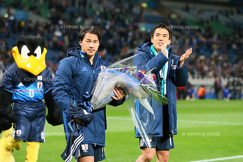 (L-R) Shinji Okazaki, Makoto Hasebe (JPN), MARCH 29, 2016 - Football / Soccer : FIFA World Cup Russia 2018 Asian Qualifier Second Round Group E match between Japan 5-0 Syria at Saitama Stadium 2002 in Saitama, Japan. Okazaki was made captain for the night to celebrate his 100th cap for his country. He is Japan's third all-time goalscorer with 48 goals in his 100 games. (Photo by Yohei Osada/AFLO SPORT)