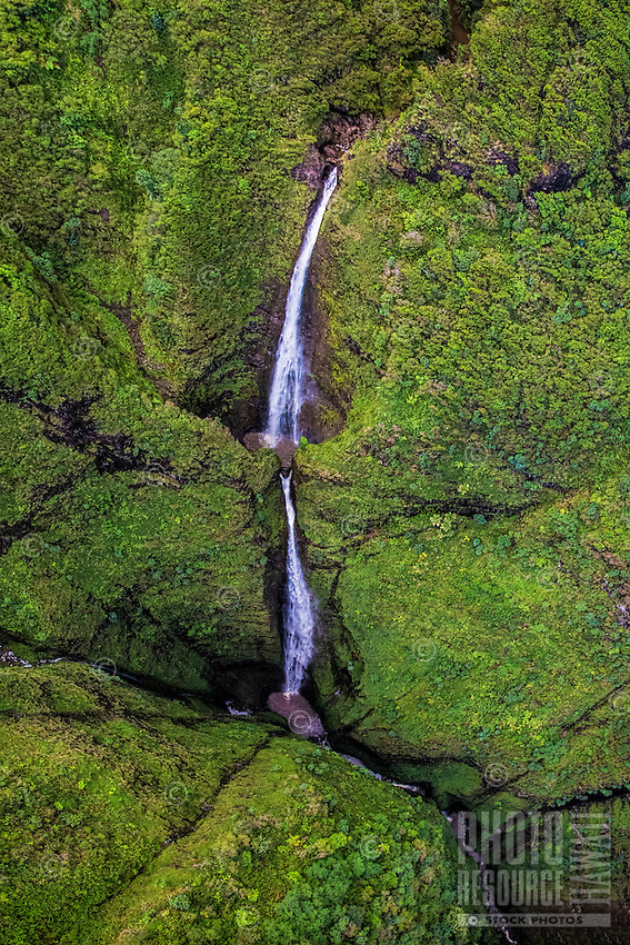 An aerial view via helicopter of Sacred Falls in Hau'ula, O'ahu; Sacred Falls State Park is closed to the public.