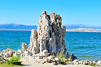 "Sept. 5, 2010 - Mono Lake, California, U.S. - Tufa towers are seen along the shore of Mono Lake near Lee Vining, California with the towering Sierra Mountain range in the background.  ""tufa towers,"" are calcium-carbonate spires and knobs formed by interaction of freshwater springs and alkaline lake water. Mono Lake is a majestic body of water covering about 70 square miles. It is an ancient lake, over 1 million years old -- one of the oldest lakes in North America. It has no outlet and no fish; instead it is home to trillions of brine shrimp and alkali flies. (Photo by Alan Greth/ZUMA Press)"