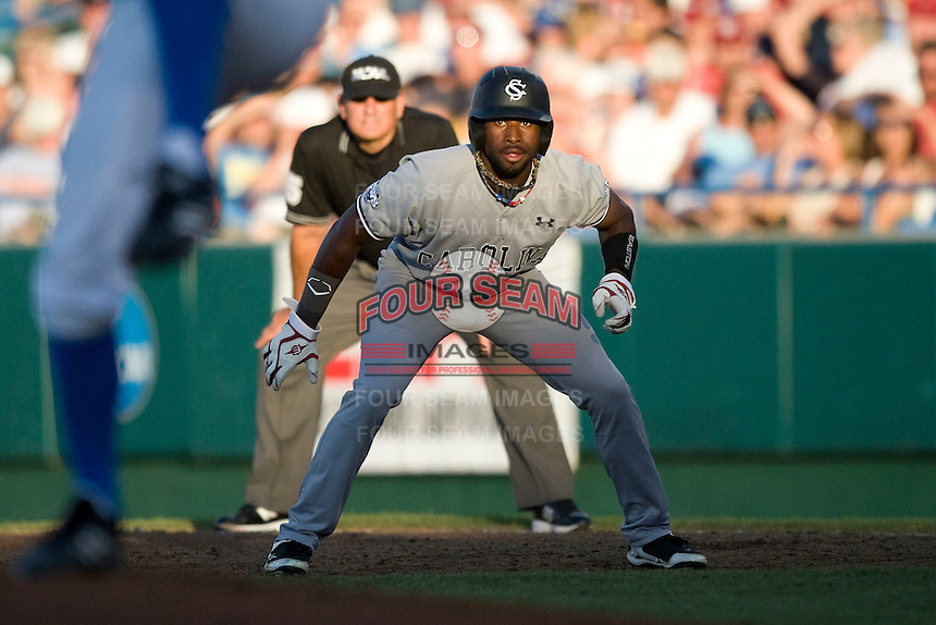 South Carolina CF Jackie Bradley Jr. leads off in Game One of the NCAA Division One Men's College World Series Finals on June 28th, 2010 at Johnny Rosenblatt Stadium in Omaha, Nebraska.  (Photo by Andrew Woolley / Four Seam Images)