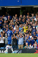 Tammy Abraham of Chelsea is applauded by Chelsea fans as he leaves the field during the Premier League match between Chelsea and Sheff United at Stamford Bridge, London, England on 31 August 2019. Photo by Carlton Myrie / PRiME Media Images.