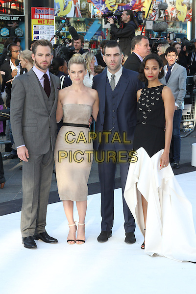 Chris Pine, Alice Eve, Zachary Quinto and Zoe Saldana.Attending the 'Star Trek Into Darkness 3D' World Premiere at the Empire cinema Leicester Square, London, England, UK, .May 2nd 2013..full length cast grey gray blue suit tie beige nude strapless dress black white .CAP/ROS.©Steve Ross/Capital Pictures