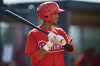 Philadelphia Phillies Jesus Alastre (31) at bat during a Florida Instructional League game against the New York Yankees on October 11, 2018 at Yankee Complex in Tampa, Florida.  (Mike Janes/Four Seam Images)