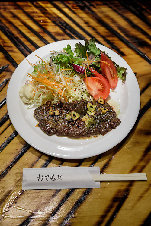 Tokyo, March 9 2016 - Whale steak for lunch at Ichinotani restaurant specialized in whale food.