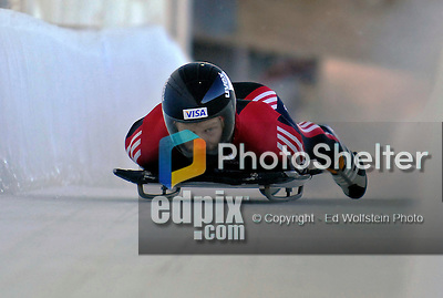 12 December 2006: Jon Montgomery, from Canada, slides down a straightaway during a training run in preparation for the World Cup Skeleton Competition at the Olympic Sports Complex on Mount Van Hoevenburg  in Lake Placid, New York, USA.&amp;#xA;&amp;#xA;Mandatory Photo credit: Ed Wolfstein Photo<br />