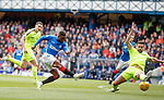 05.05.2019 Rangers v Hibs: Jermain Defoe beats Darren McGregor but his shot is saved