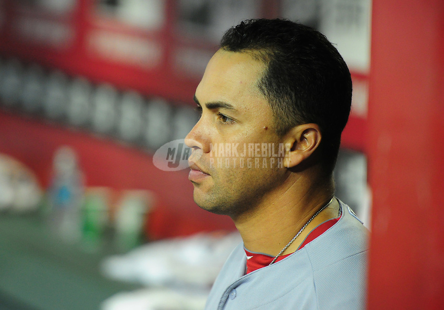 May 8, 2012; Phoenix, AZ, USA; St. Louis Cardinals outfielder Carlos Beltran in the eighth inning against the Arizona Diamondbacks at Chase Field. Mandatory Credit: Mark J. Rebilas-