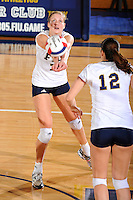 16 October 2010:  FIU outside hitter Una Trkulja (7) digs the ball in the fifth set as the Western Kentucky Hilltoppers defeated the FIU Golden Panthers, 3-2 (25-19, 23-25, 25-20, 25-27, 15-13), at the U.S Century Bank Arena in Miami, Florida.