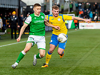 9th February 2020; Indodrill Stadium Alloa, Alloa Clackmannashire, Scotland; Scottish Cup Football, BSC Glasgow versus Hibernian; Greg Docherty of Hibernian and Jamie Mills of BSC Glasgow FC compete for possession of the ball