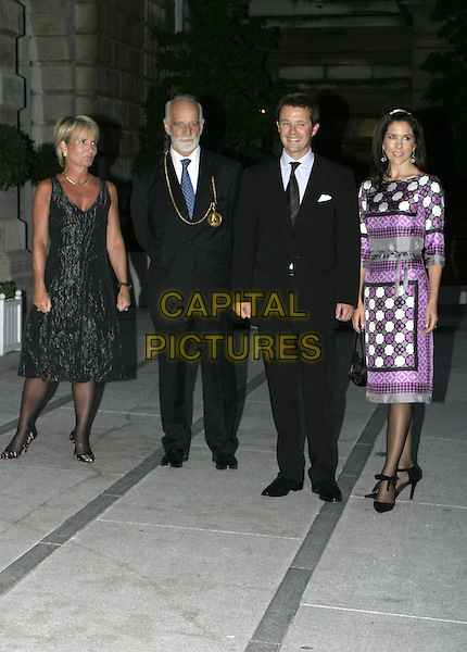 "CROWN PRINCE FREDERIK & CROWN PRINCESS MARY .Arrive to open a new exhibition with works frim the NY Carlsberg glyptotek, Copenhagen called ""Ancient Art to Post-Impressionism"" at the Royal Academy of Arts, London, September 14th 2004..full length purple grey black geometric print flower  patterned dress Donaldson Danish royalty.Ref: AH.www.capitalpictures.com.sales@capitalpictures.com.©Capital Pictures."