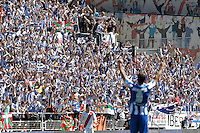 Real Sociedad's supporters celebrate the victory during La Liga match.April 14,2013. (ALTERPHOTOS/Acero)