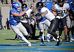 November 4, 2017:  Air Force running back, Tim McVey #33, slips away from a Black Knight tackler during the NCAA Football game between the Army West Point Black Knights and the Air Force Academy Falcons at Falcon Stadium, United States Air Force Academy, Colorado Springs, Colorado.  Army West Point defeats Air Force 21-0.