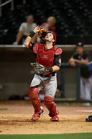 Chattanooga Lookouts catcher Chris Okey (19) during a Southern League game against the Birmingham Barons on May 1, 2019 at Regions Field in Birmingham, Alabama.  Chattanooga defeated Birmingham 5-0.  (Mike Janes/Four Seam Images)