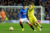 Glenn Middleton of Rangers battles for the ball with Santiago Caseres of Villarreal CF during Rangers vs Villarreal CF, UEFA Europa League Football at Ibrox Stadium on 29th November 2018