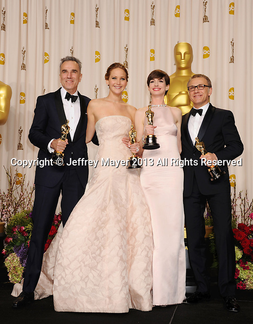 HOLLYWOOD, CA - FEBRUARY 24: Daniel Day-Lewis, Jennifer Lawrence, Anne Hathaway and Christoph Waltz pose in the press room the 85th Annual Academy Awards at Dolby Theatre on February 24, 2013 in Hollywood, California.