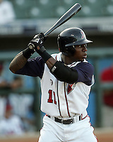 Round Rock Express OF Tim Raines Jr. during the 2007 Pacific Coast League Season. Photo by Andrew Woolley/ Four Seam Images.