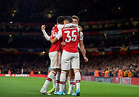 Celebrations after Gabriel Martinelli of Arsenal scores a goal during the UEFA Europa League match between Arsenal and Standard Liege at the Emirates Stadium, London, England on 3 October 2019. Photo by Andrew Aleks.