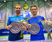 Rotterdam, Netherlands, December 19, 2015,  Topsport Centrum, Lotto NK Tennis, Mens double final: Winners Matwe Middelkoop (L) and Wesley Koolhof (NED) with the trophy<br /> Photo: Tennisimages/Henk Koster