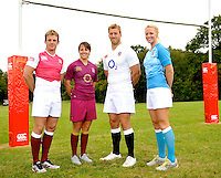 Drybrook, England. England captains (R-L) Chris Robshaw, Michaela Staniford; Katy McLean and Rob Vickerman pose during the official launch of the new season's England Canterbury kit at Drybrook Rugby Club on September 19, 2012 in Gloucester, England.