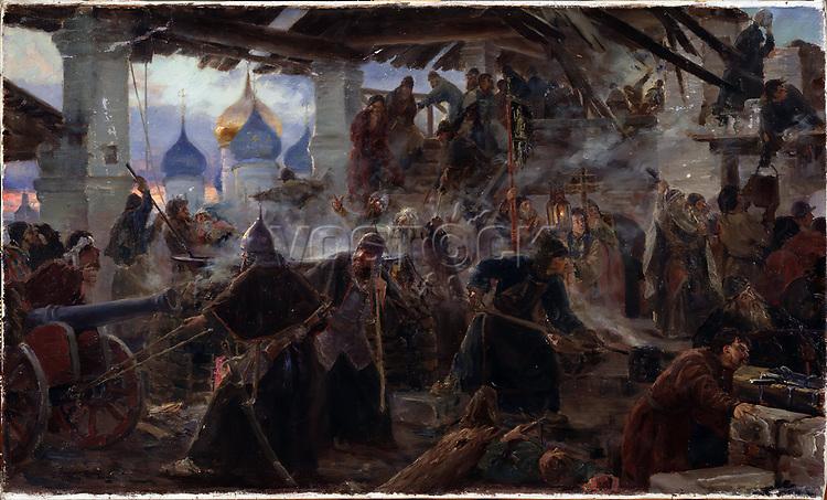 The Siege of the Trinity Sergius Lavra in Sergiev Posad. Museum: Regional K. Savitsky Art Gallery, Pensa. Author: Miloradovich, Sergei Dmitrievich (1851-1943).