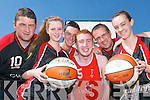 Members of the highly successful St Marys basketball club who have brought great glories to the town L-r: Niall Murphy,.Aisling OLeary, Jamie ONeill, Stephan McGaley, Maurice Casey and Amber Galwey