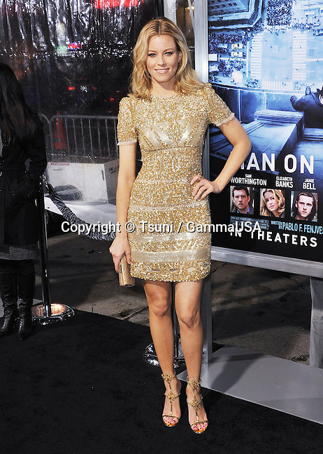 Elizabeth Banks at the Man on a Ledge Premiere at the Chinese Theatre in Los Angeles.