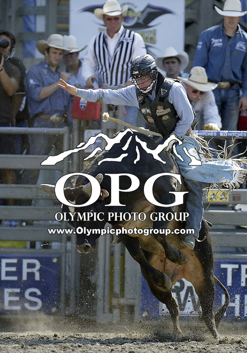 30 Aug 2009:  Shane Gordon riding the bull Secretary of Soul was not able to score on his ride during the Extreme Bulls tour stop in Bremerton, Washington.  Bremerton was the last stop in the Wrangler Million Dollar Pro Rodeo Silver Tour for 2009.