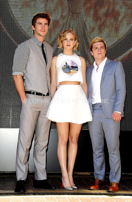 ACEPIXS.COM<br /> <br /> May 17 2014, Cannes<br /> <br /> Liam Hemsworth, Jennifer Lawrence and Josh Hutcherson at the photocall for 'The Hunger Games: Mockingjay Part I' during the 67th Cannes International Film Festival at Hotel Majestic on May 17 2014 in Cannes, France.<br /> <br /> By Line: Famous/ACE Pictures<br /> <br /> ACE Pictures, Inc.<br /> www.acepixs.com<br /> Email: info@acepixs.com<br /> Tel: 646 769 0430