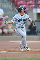 Cedar Rapids Kernels center fielder Gabriel Maciel (19) swings at a pitch against the Quad Cities River Bandits at Veterans Memorial Stadium on April 16, 2019 in Cedar Rapids, Iowa.  The Kernels won 11-2.  (Dennis Hubbard/Four Seam Images)
