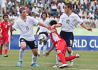 Nick Palodichuk and Luis Gil battle for the ball. US Under-17 Men's National Team defeated United Arab Emirates 1-0 at Gateway International  Stadium in Ijebu-Ode, Nigeria on November 1, 2009.